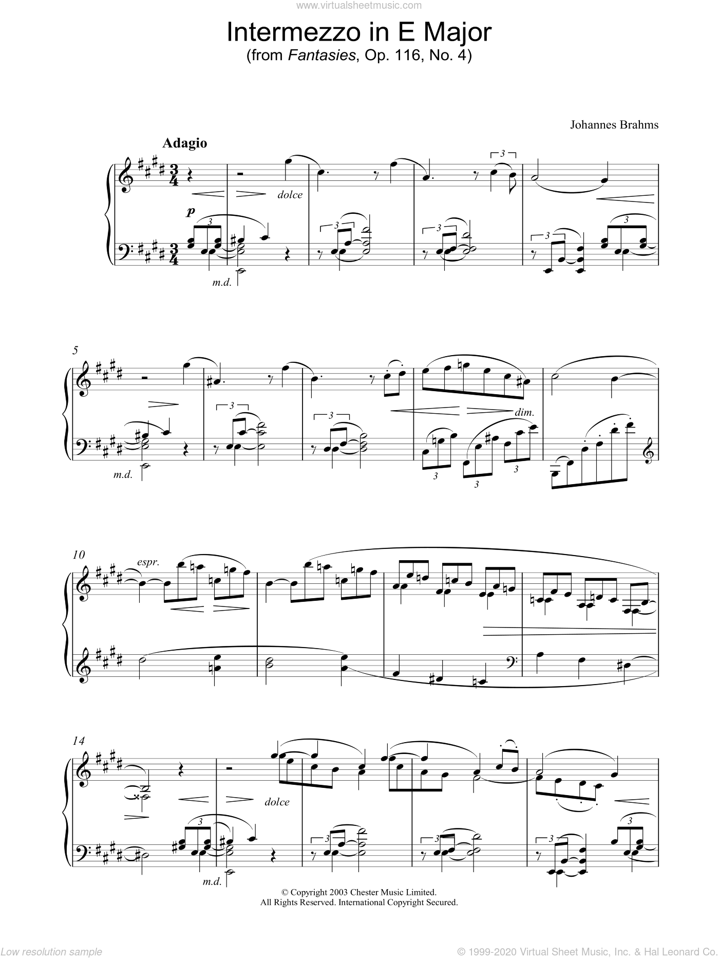 Intermezzo in E Major (from Fantasies, Op. 116, No. 4) sheet music for piano solo by Johannes Brahms, classical score, intermediate skill level
