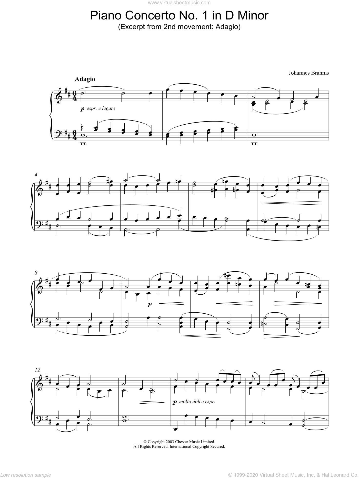 Piano Concerto No. 1 in D Minor (Excerpt from 2nd movement: Adagio) sheet music for piano solo by Johannes Brahms