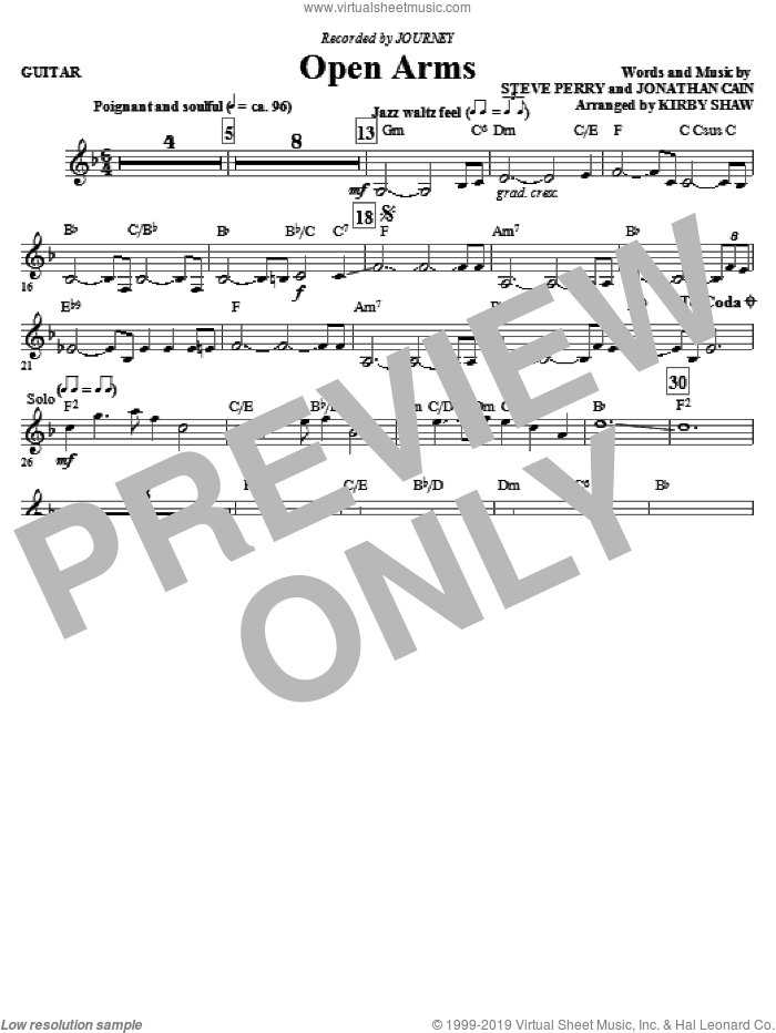 Open Arms (complete set of parts) sheet music for orchestra/band (Rhythm) by Steve Perry, Jonathan Cain, Journey and Kirby Shaw, intermediate. Score Image Preview.