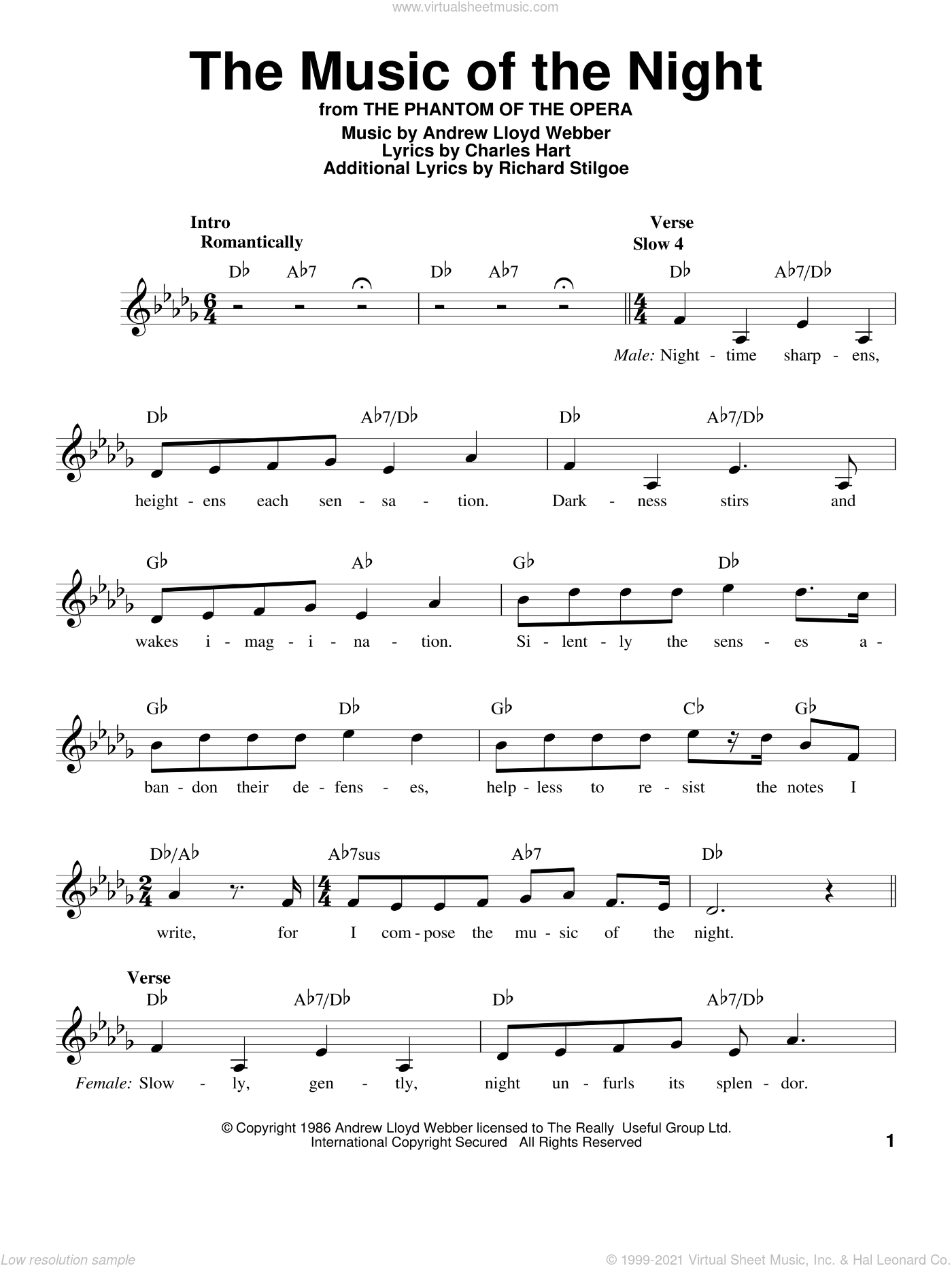 The Music Of The Night sheet music for voice solo by Andrew Lloyd Webber, intermediate. Score Image Preview.
