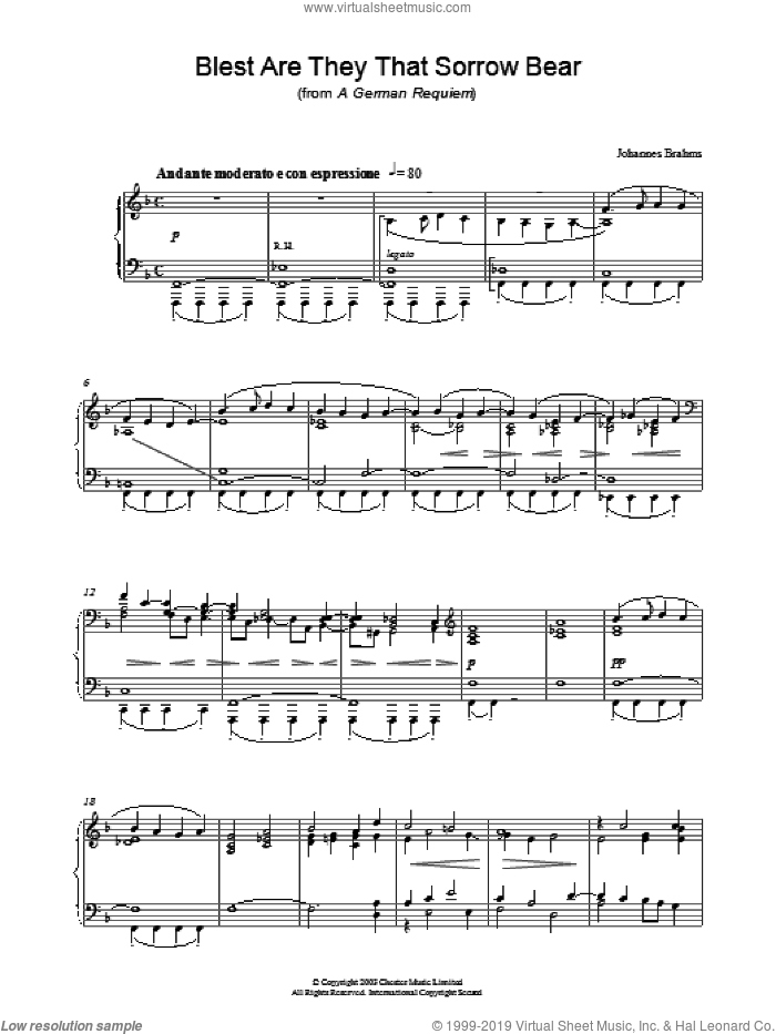 Blest Are They That Sorrow Bear (from A German Requiem) sheet music for piano solo by Johannes Brahms, classical score, intermediate skill level