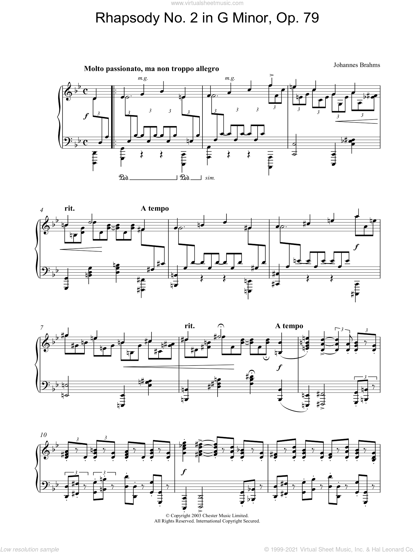 Rhapsody No. 2 in G Minor, Op. 79 sheet music for piano solo by Johannes Brahms, classical score, intermediate piano. Score Image Preview.