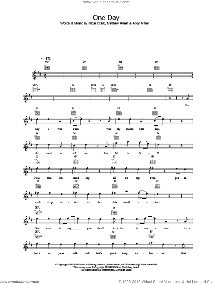 One Day sheet music for voice and other instruments (fake book) by Dodgy. Score Image Preview.