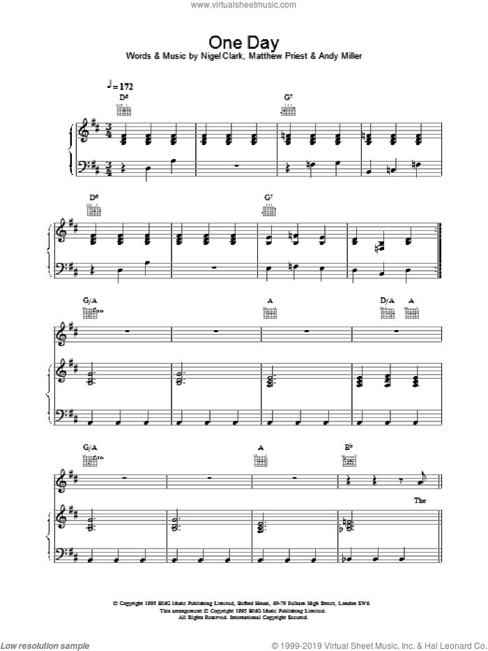 One Day sheet music for voice, piano or guitar by Dodgy. Score Image Preview.