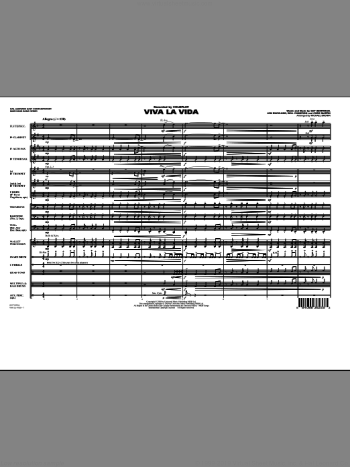 Viva La Vida (COMPLETE) sheet music for marching band by Michael Brown, Guy Berryman, Jon Buckland, Will Champion and Coldplay, intermediate. Score Image Preview.