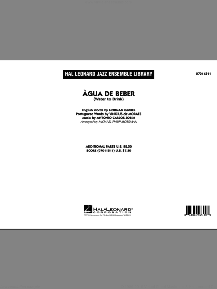 Agua de Beber (Water to Drink) (COMPLETE) sheet music for jazz band by Antonio Carlos Jobim and Michael Philip Mossman, intermediate. Score Image Preview.