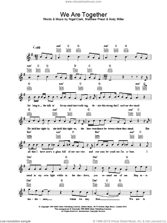 We Are Together sheet music for voice and other instruments (fake book) by Dodgy, intermediate. Score Image Preview.