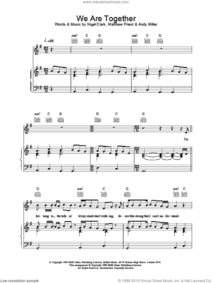 We Are Together sheet music for voice, piano or guitar by Dodgy. Score Image Preview.