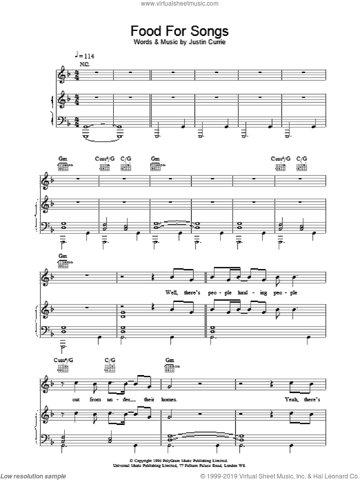 Food For Songs sheet music for voice, piano or guitar by Del Amitri. Score Image Preview.