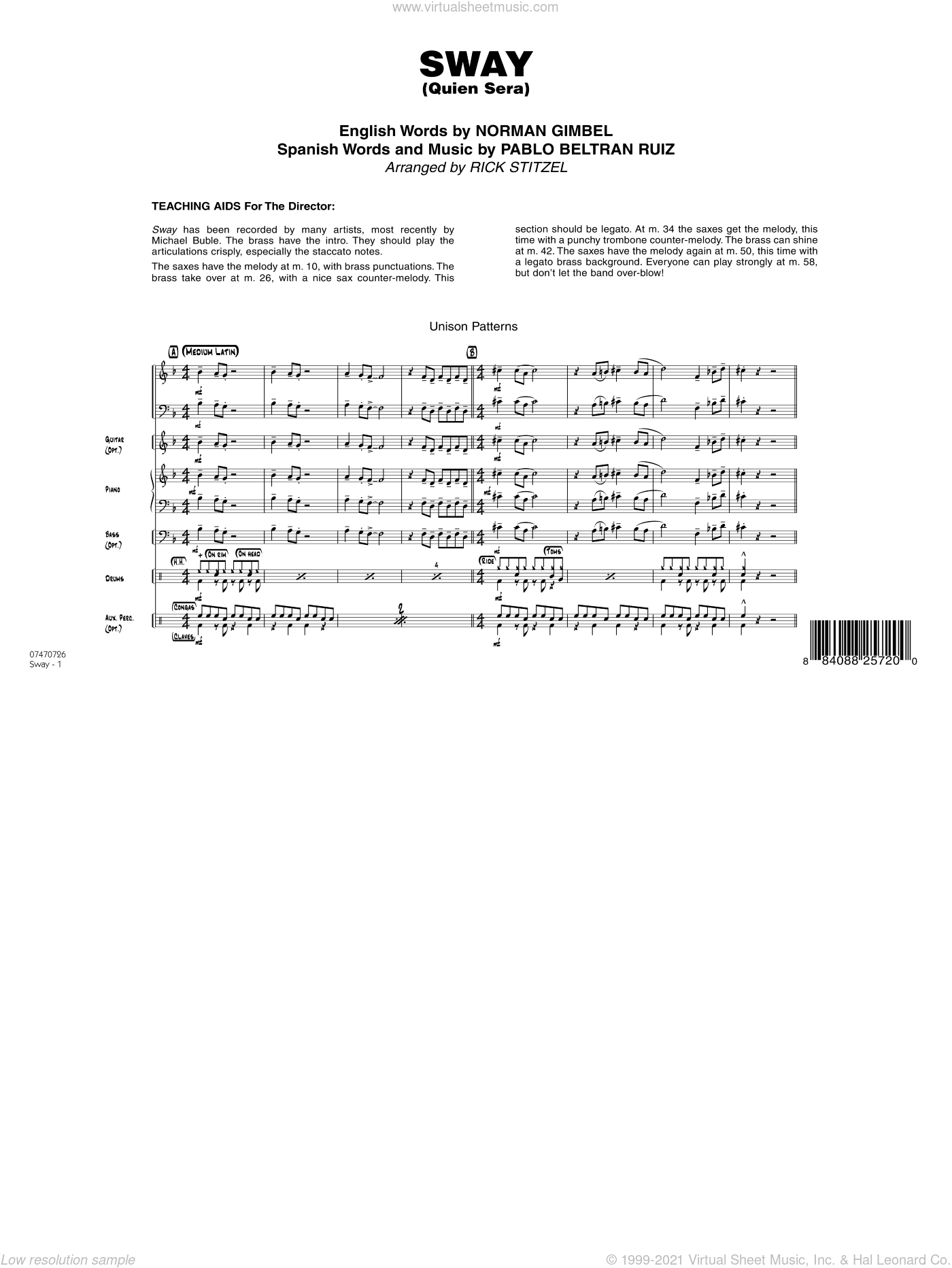 Sway (Quien Sera) sheet music for jazz band (full score) by Norman Gimbel