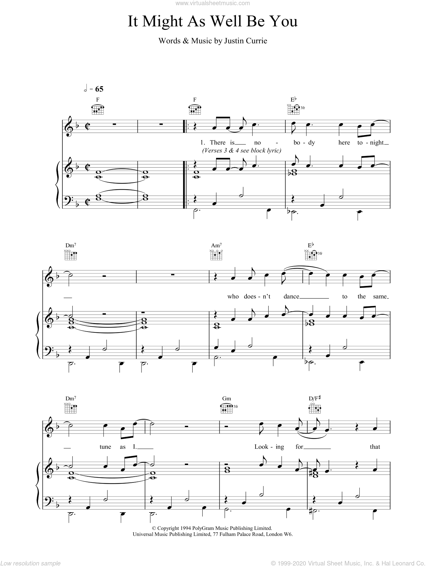 It Might As Well Be You sheet music for voice, piano or guitar by Del Amitri