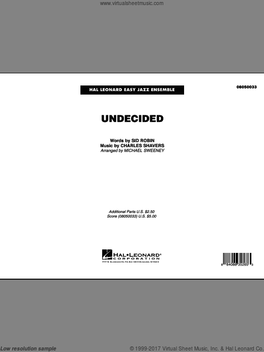 Undecided, complete set of parts (COMPLETE) sheet music for jazz band by Charles Shavers