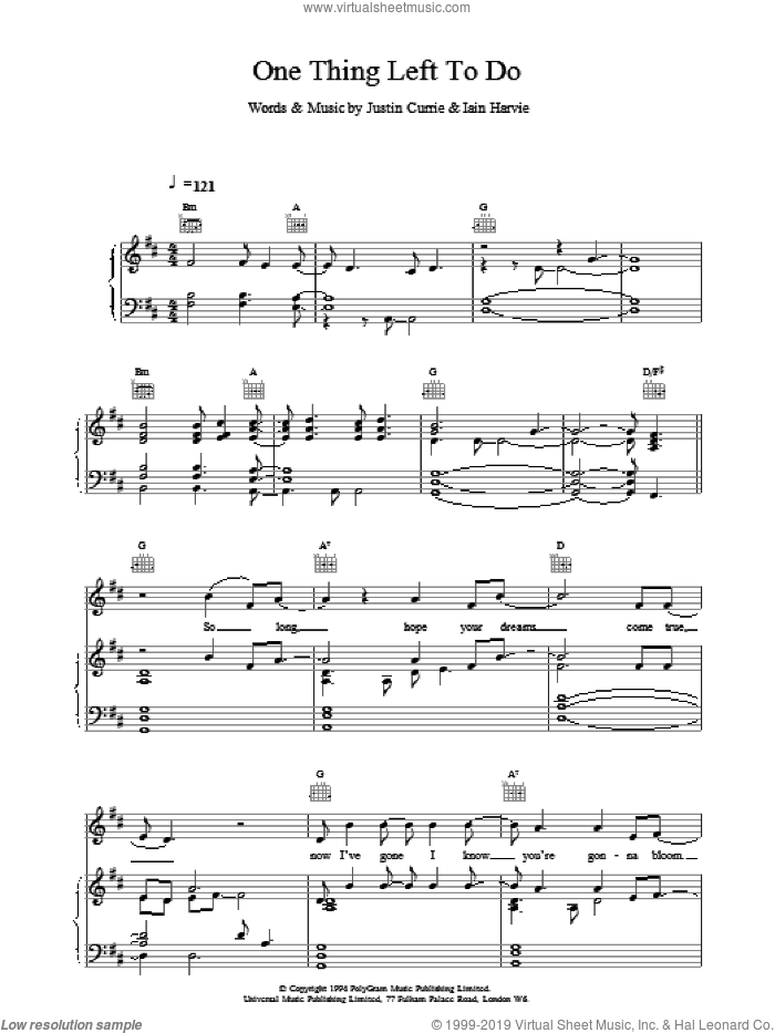 One Thing Left To Do sheet music for voice, piano or guitar by Del Amitri