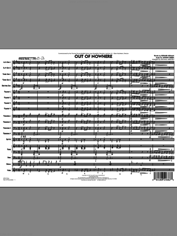 Out of Nowhere (COMPLETE) sheet music for jazz band by Edward Heyman, Johnny Green and Michael Sweeney, intermediate. Score Image Preview.