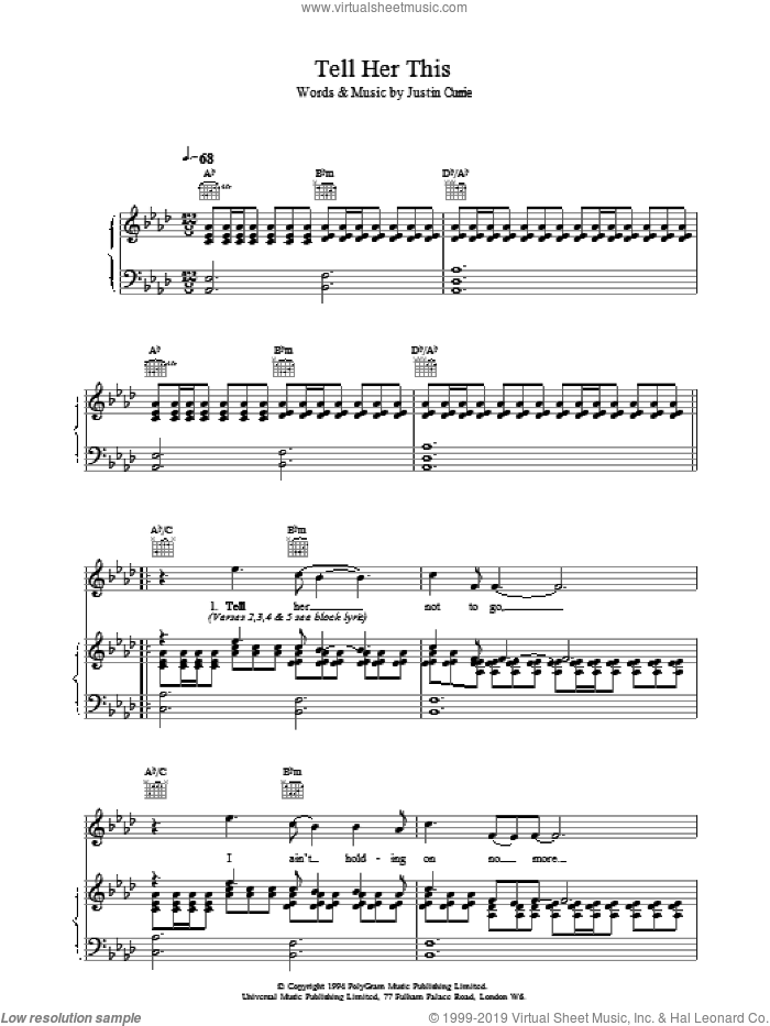 Tell Her This sheet music for voice, piano or guitar by Del Amitri, intermediate skill level