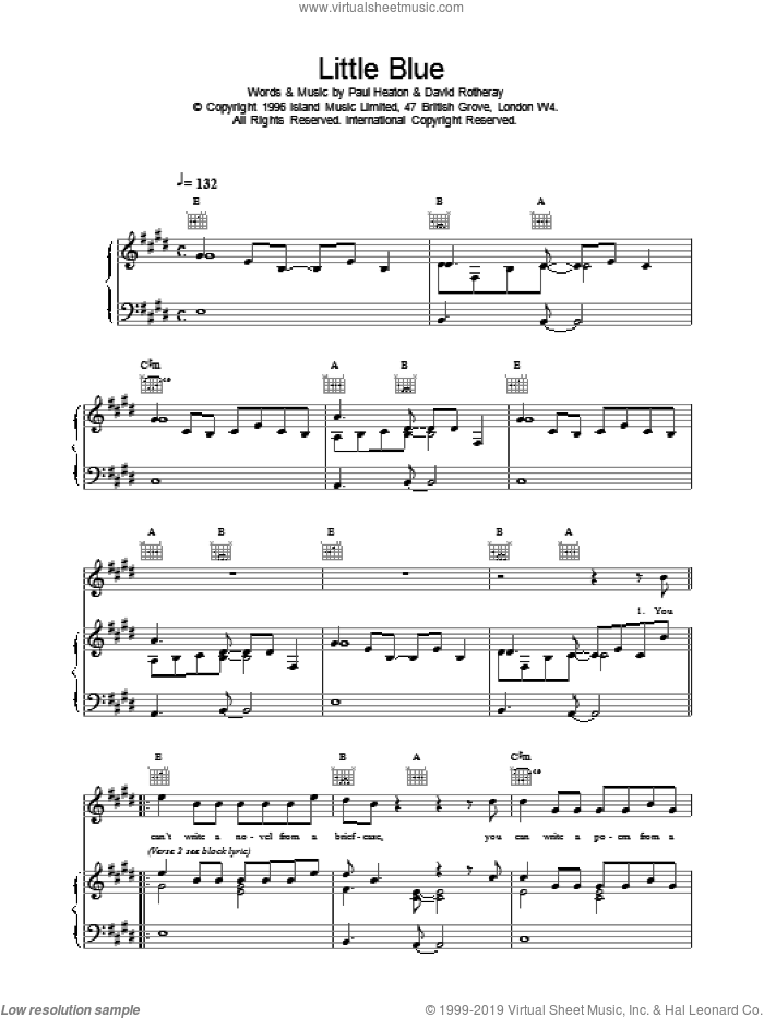 Little Blue sheet music for voice, piano or guitar by The Beautiful South, intermediate skill level