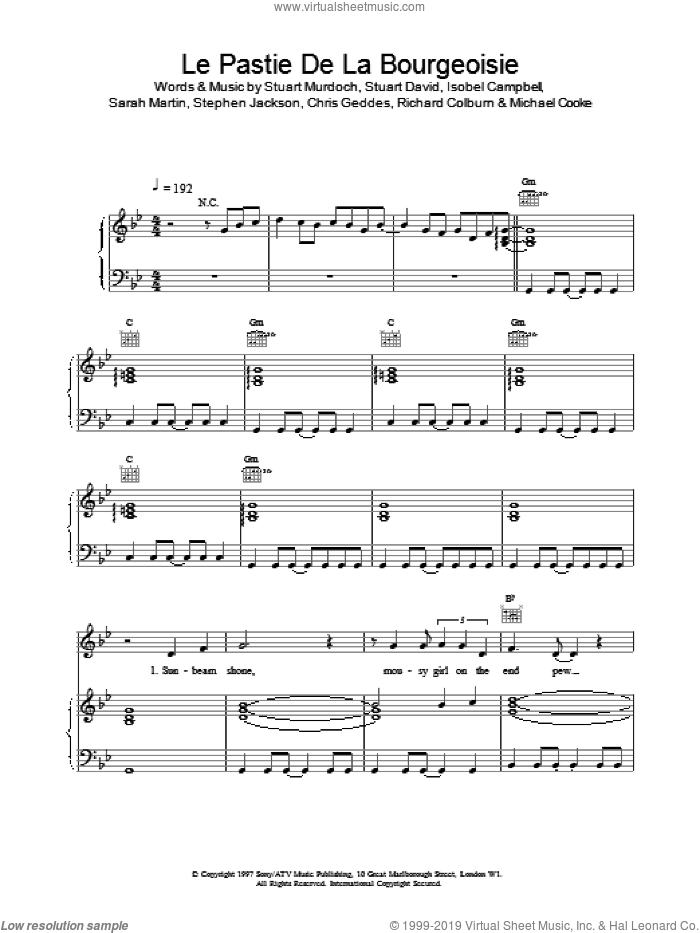 Le Pastie De La Bourgeoisie sheet music for voice, piano or guitar. Score Image Preview.