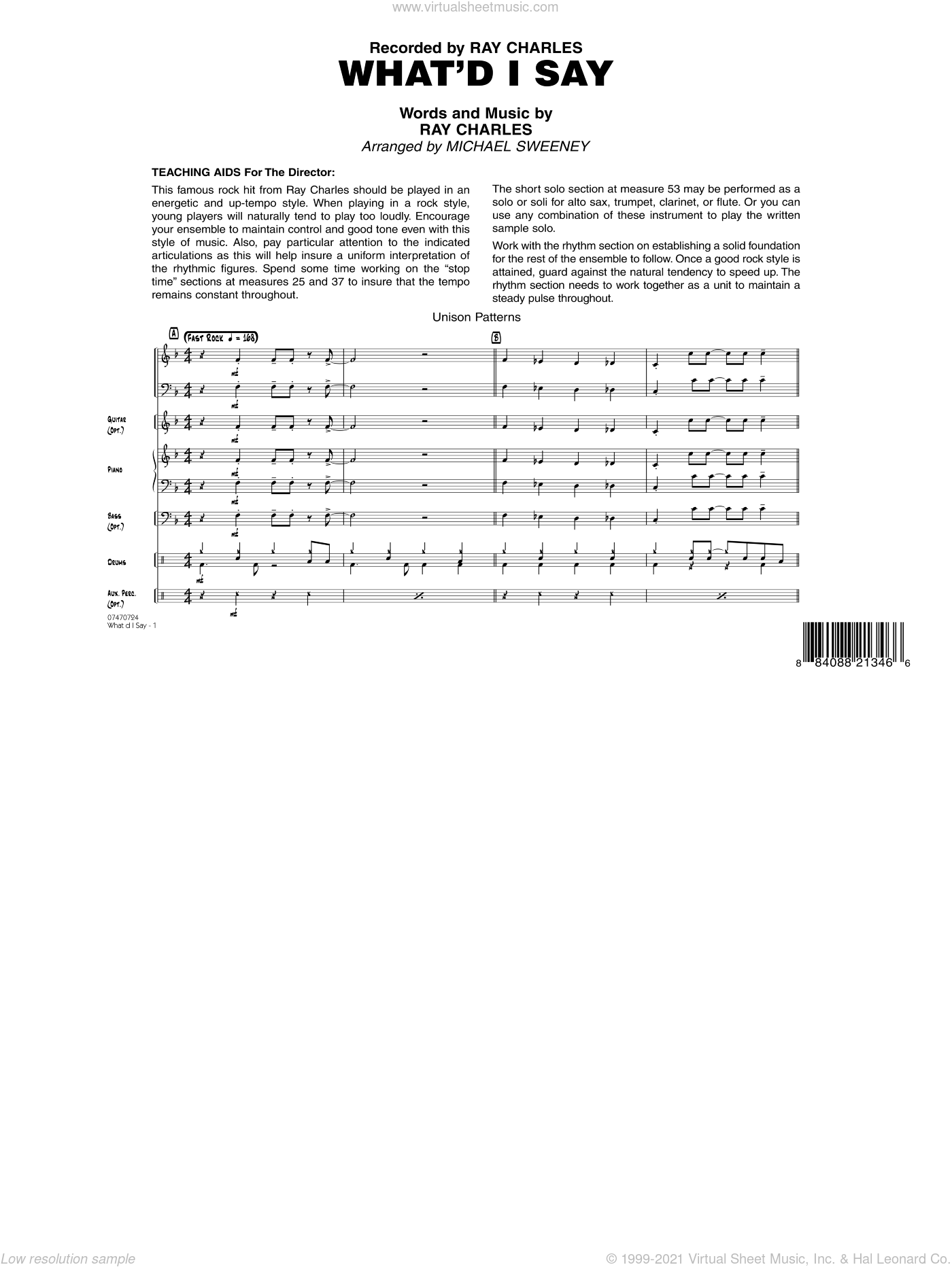 What'd I Say sheet music for jazz band (full score) by Michael Sweeney