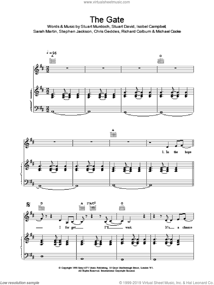 The Gate sheet music for voice, piano or guitar. Score Image Preview.