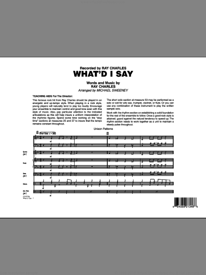 What'd I Say (COMPLETE) sheet music for jazz band by Ray Charles and Michael Sweeney, intermediate skill level