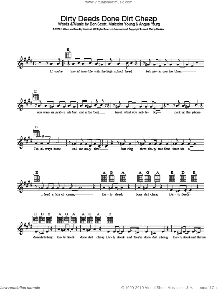 Dirty Deeds Done Dirt Cheap sheet music for voice and other instruments (fake book) by AC/DC, Angus Young, Brian Johnson and Malcolm Young, intermediate skill level