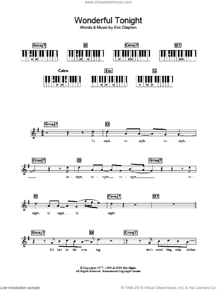 Wonderful Tonight sheet music for voice and other instruments (fake book) by Damage and Eric Clapton. Score Image Preview.