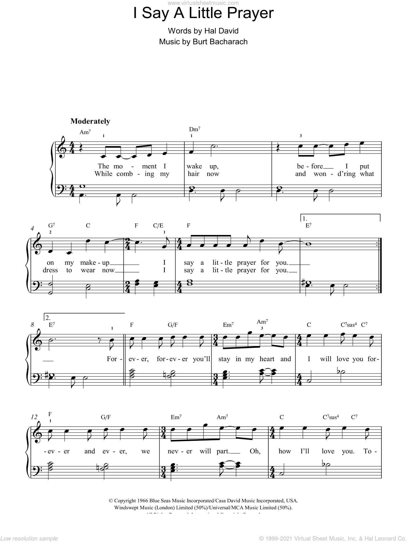 I Say A Little Prayer sheet music for piano solo by Bacharach & David, Burt Bacharach and Hal David. Score Image Preview.