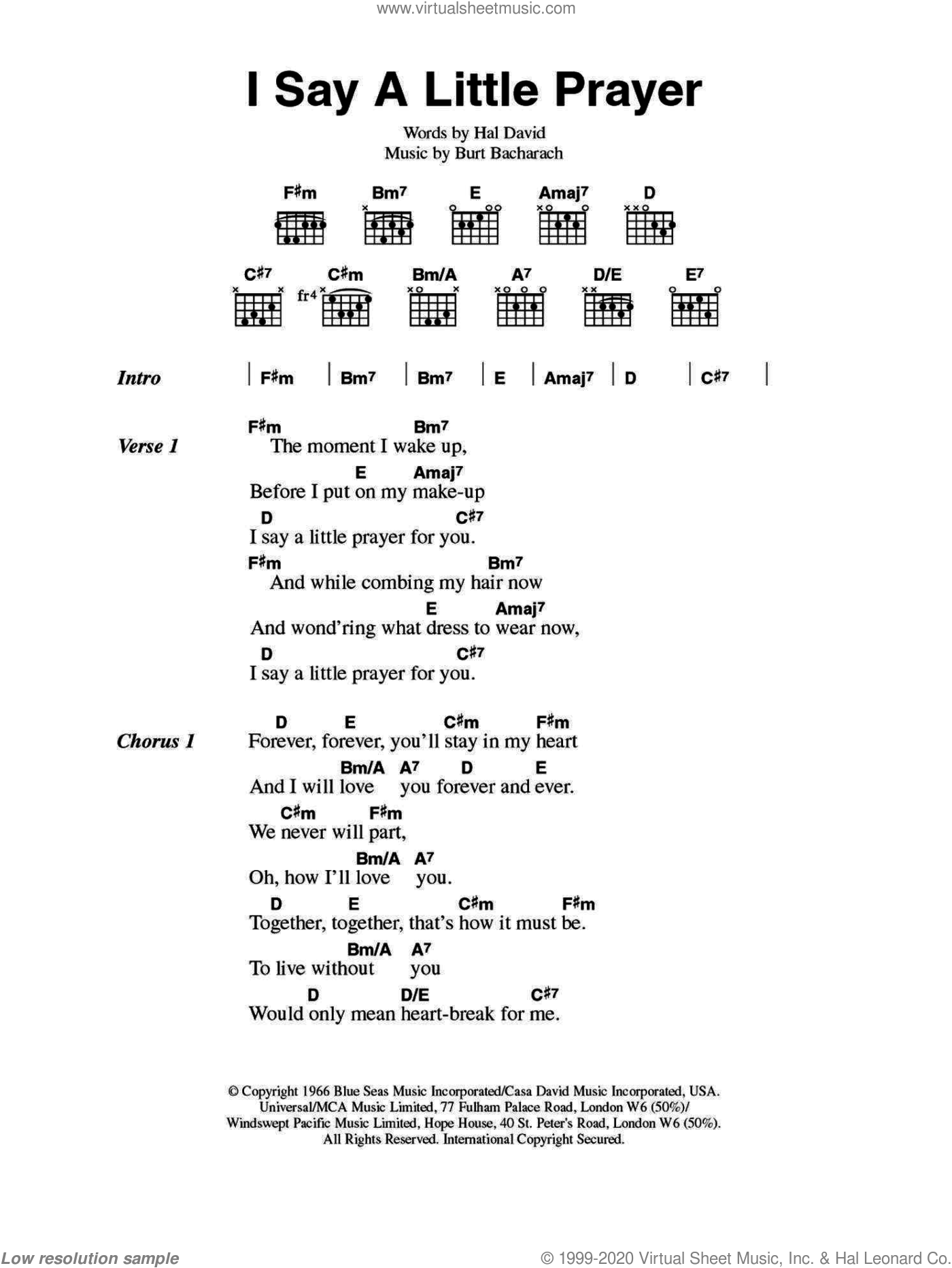 David - I Say A Little Prayer sheet music for guitar (chords)