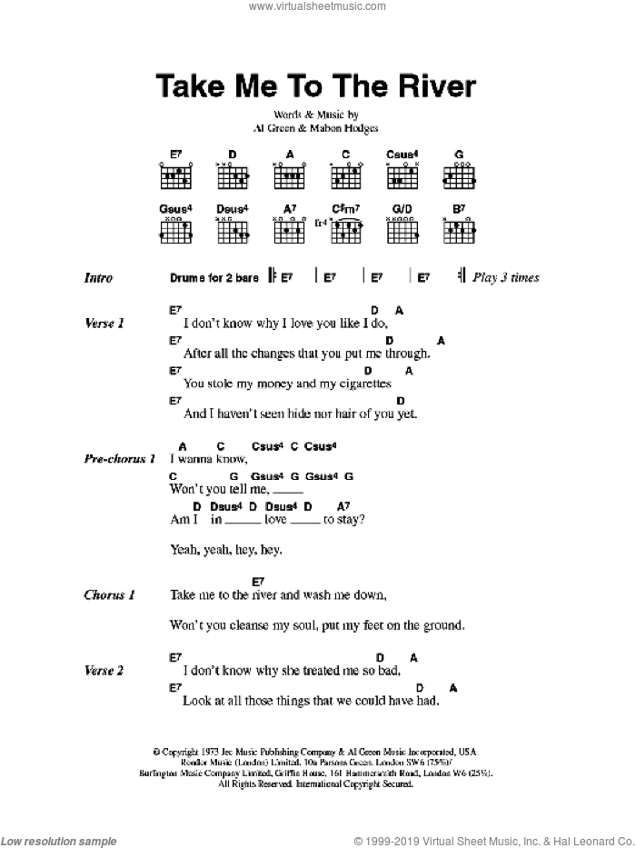 Take Me To The River sheet music for guitar (chords) by Mabon Hodges and Al Green. Score Image Preview.