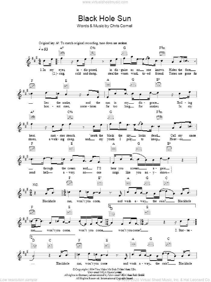 Black Hole Sun sheet music for voice and other instruments (fake book) by Chris Cornell and Soundgarden. Score Image Preview.