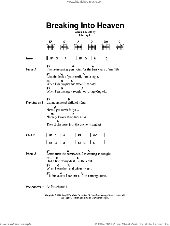 Breaking Into Heaven sheet music for guitar (chords) by The Stone Roses and John Squire, intermediate skill level