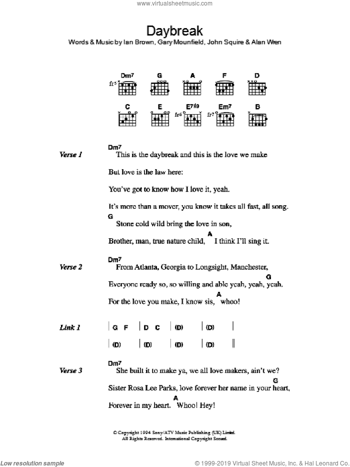 Daybreak sheet music for guitar (chords) by The Stone Roses, Alan Wren, Gary Mounfield, Ian Brown and John Squire, intermediate skill level