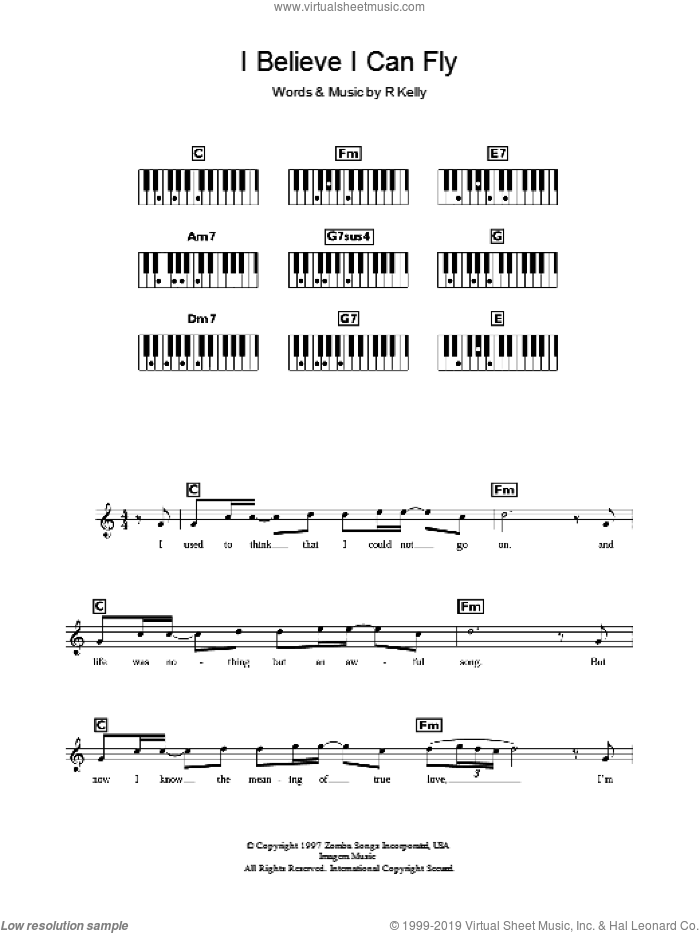 I Believe I Can Fly sheet music for voice and other instruments (fake book) by Robert Kelly