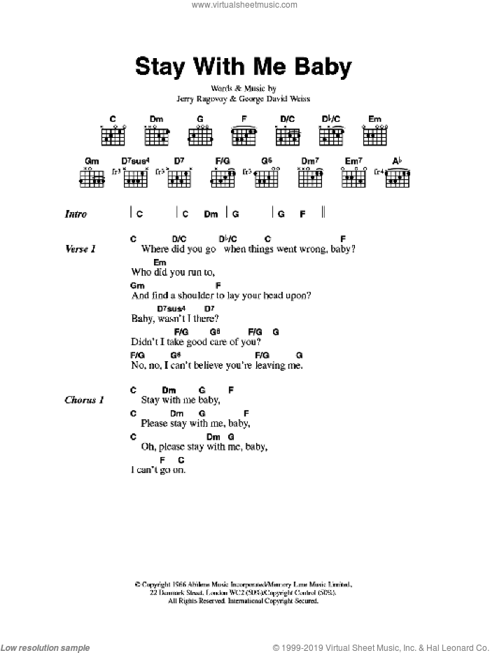 Walker - Stay With Me Baby sheet music for guitar (chords) [PDF]