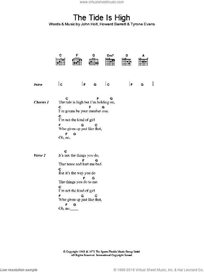 The Tide Is High sheet music for guitar (chords, lyrics, melody) by Howard Barrett