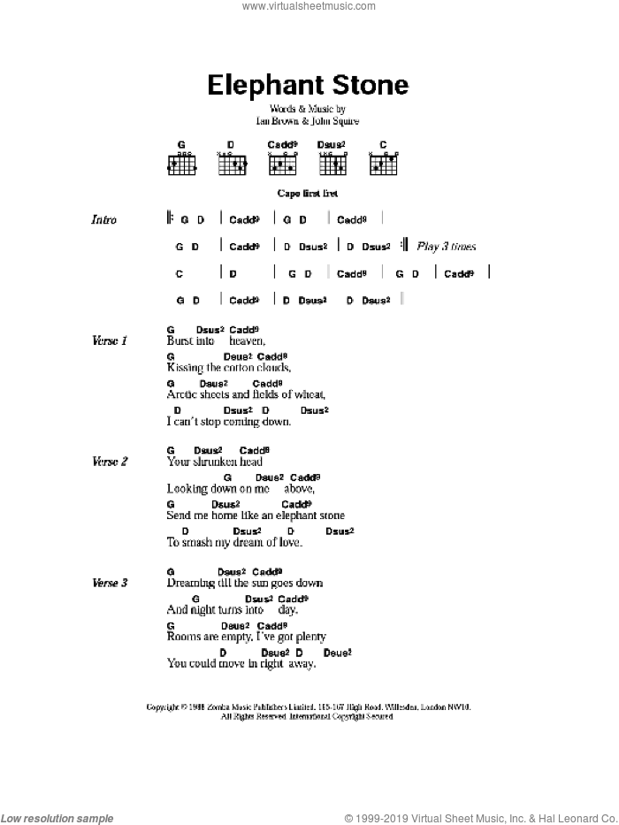 Elephant Stone sheet music for guitar (chords) by Ian Brown and John Squire. Score Image Preview.