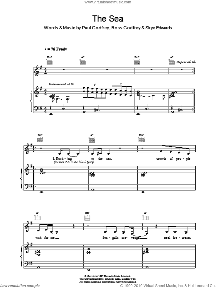 The Sea sheet music for voice, piano or guitar by Morcheeba