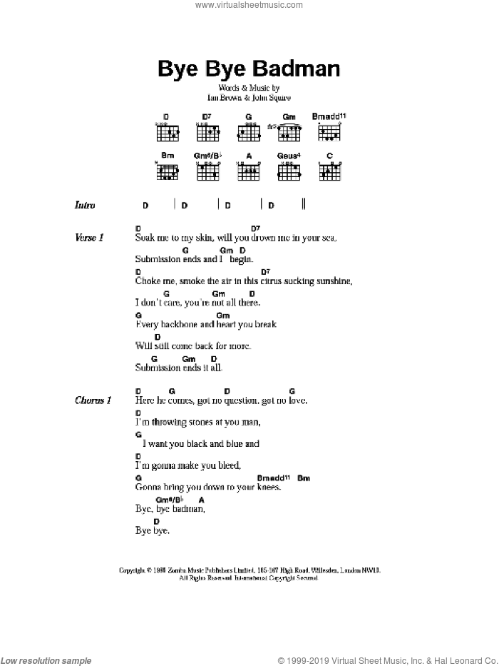 Bye Bye Badman sheet music for guitar (chords) by Ian Brown and John Squire. Score Image Preview.