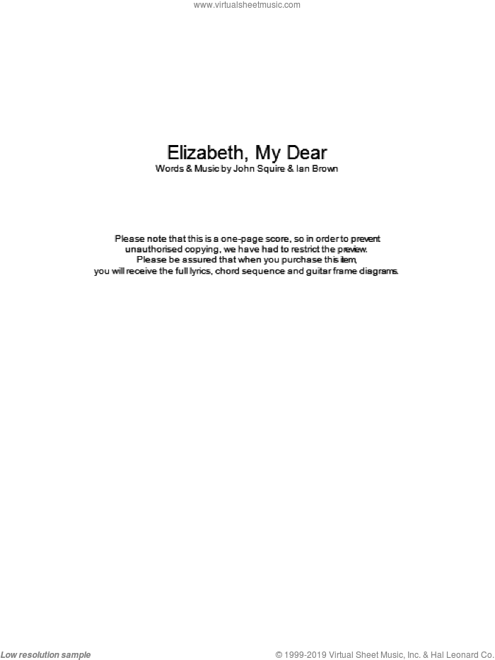 Elizabeth My Dear sheet music for guitar (chords) by The Stone Roses, Ian Brown and John Squire, intermediate skill level