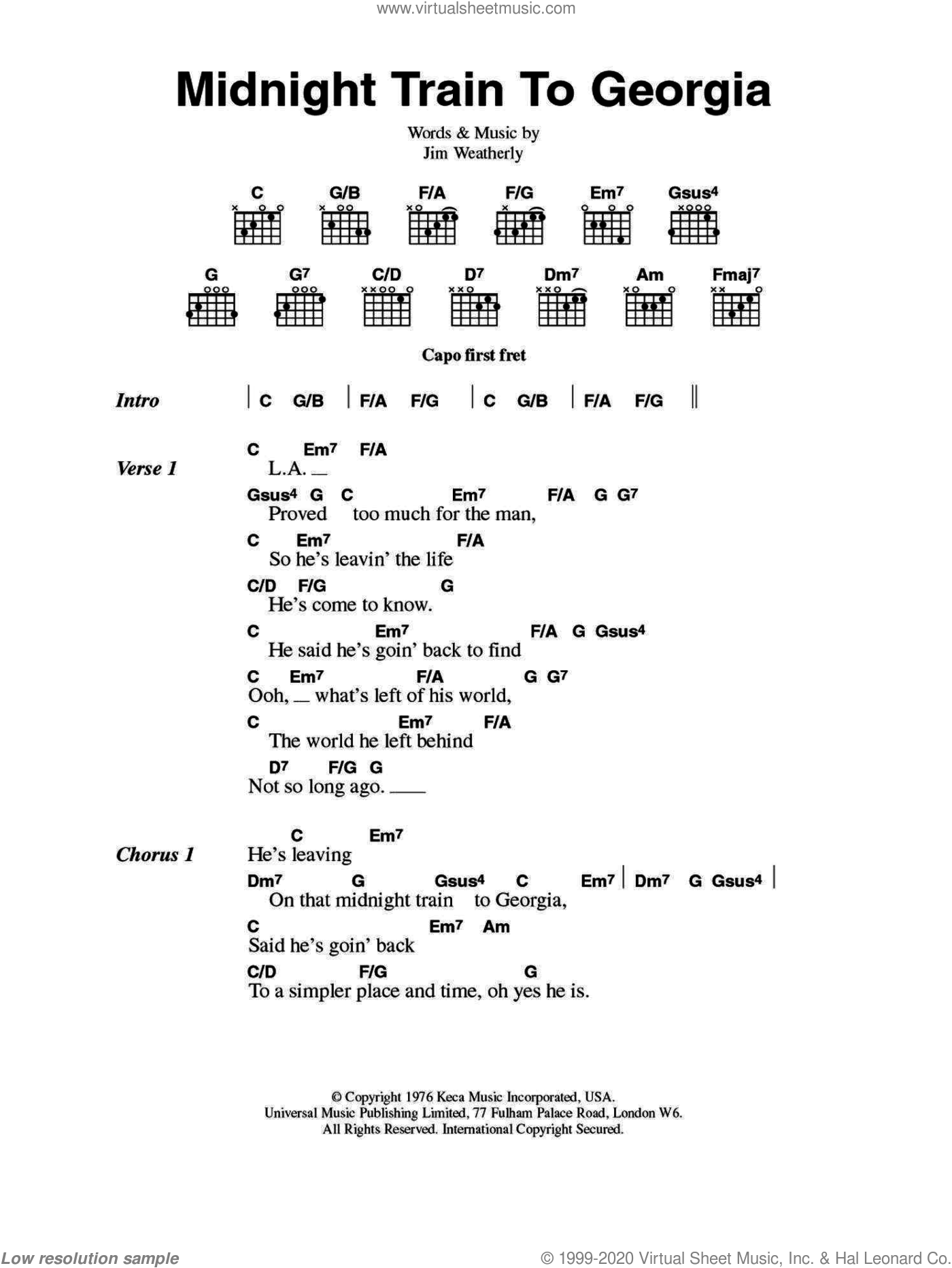 Midnight Train To Georgia sheet music for guitar (chords, lyrics, melody) by Jim Weatherly