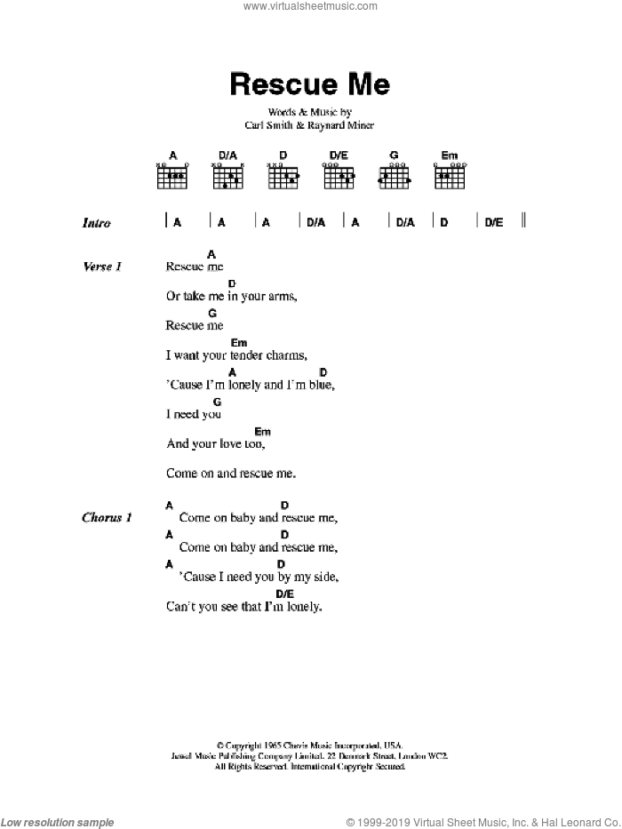 Rescue Me sheet music for guitar (chords) by Carl Smith, Aretha Franklin, Fontella Bass and Raynard Miner, intermediate skill level