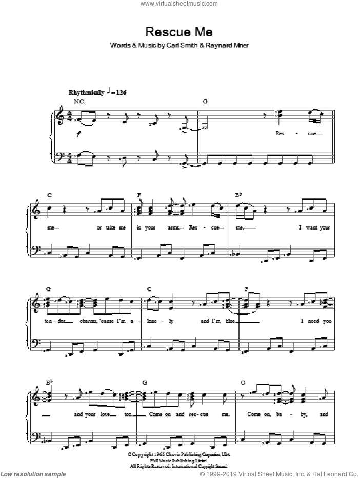 Rescue Me sheet music for piano solo by Fontella Bass, Carl Smith and Raynard Miner, intermediate skill level