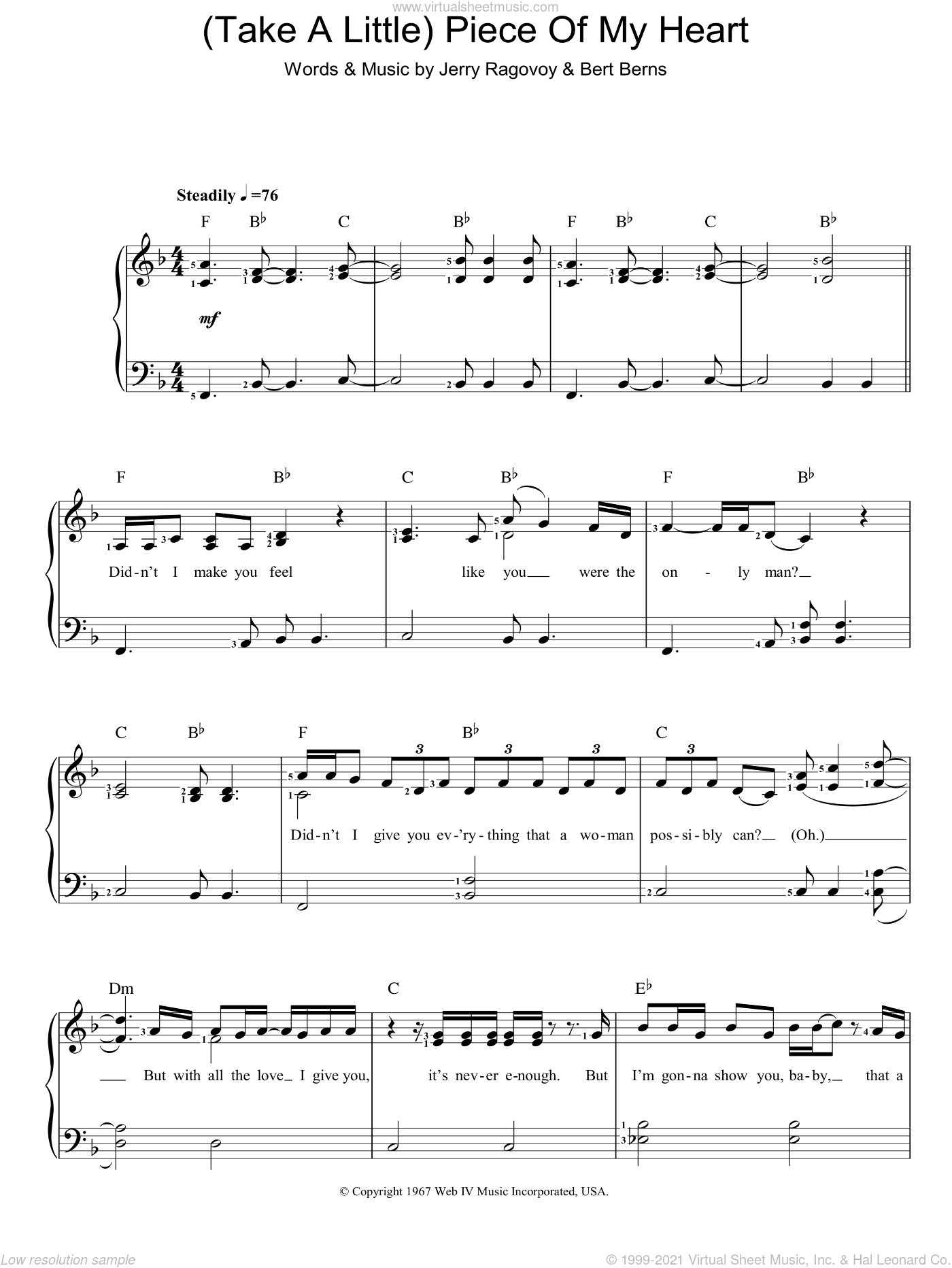 (Take A Little) Piece Of My Heart sheet music for piano solo by Erma Franklin, Bert Berns and Jerry Ragovoy. Score Image Preview.