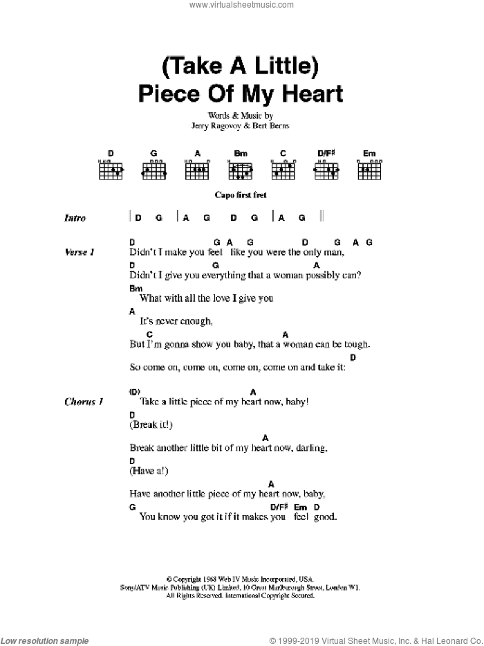 Franklin - (Take A Little) Piece Of My Heart sheet music for guitar ...