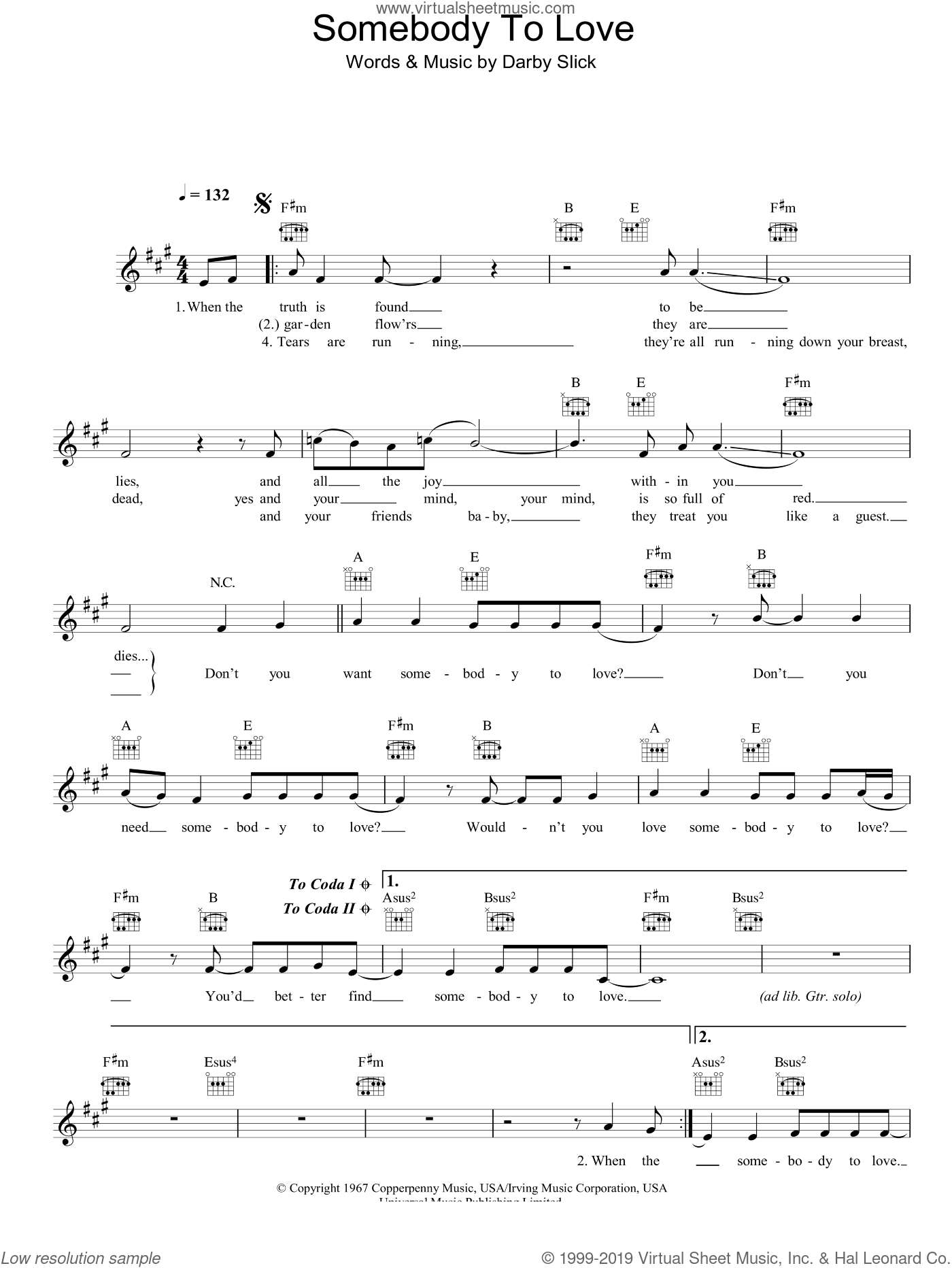 Somebody To Love sheet music for voice and other instruments (fake book) by Jefferson Airplane, intermediate voice. Score Image Preview.