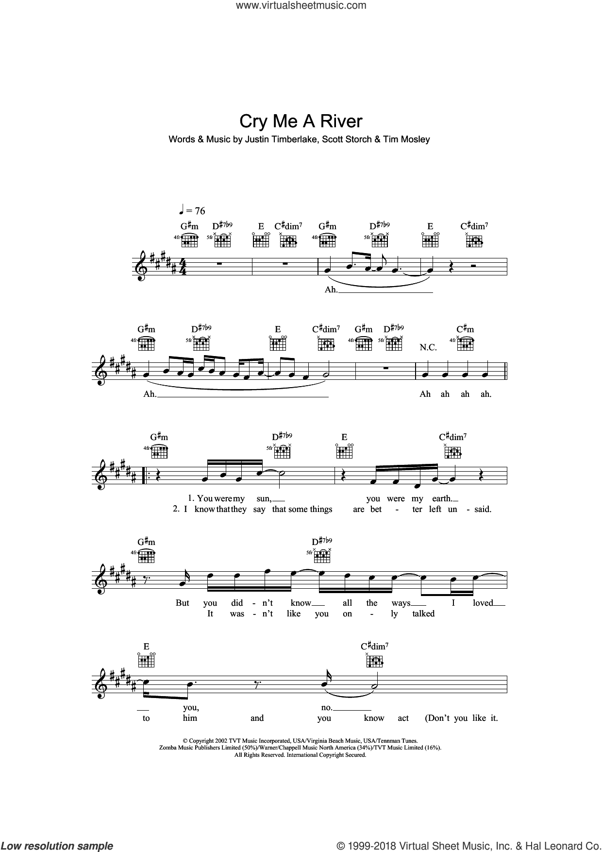Cry Me A River sheet music for voice and other instruments (fake book) by Scott Storch, Justin Timberlake and Tim Mosley. Score Image Preview.