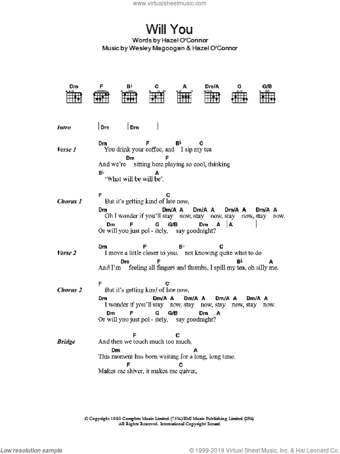 Will You sheet music for guitar (chords) by Wesley Magoogan