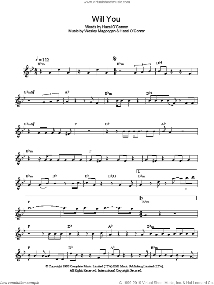 Will You sheet music for voice and other instruments (fake book) by Hazel O'Connor and Wesley Magoogan, intermediate skill level