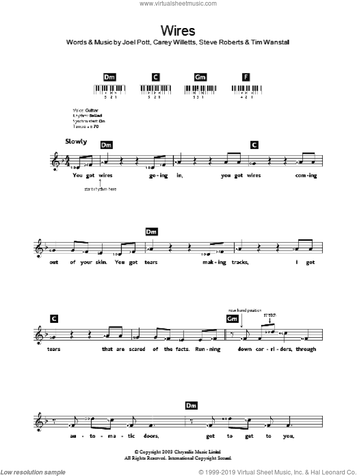 Wires sheet music for voice and other instruments (fake book) by Athlete. Score Image Preview.