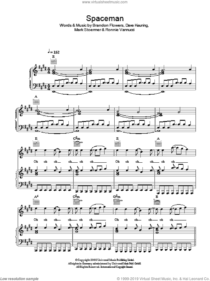 Spaceman sheet music for voice, piano or guitar by Brandon Flowers